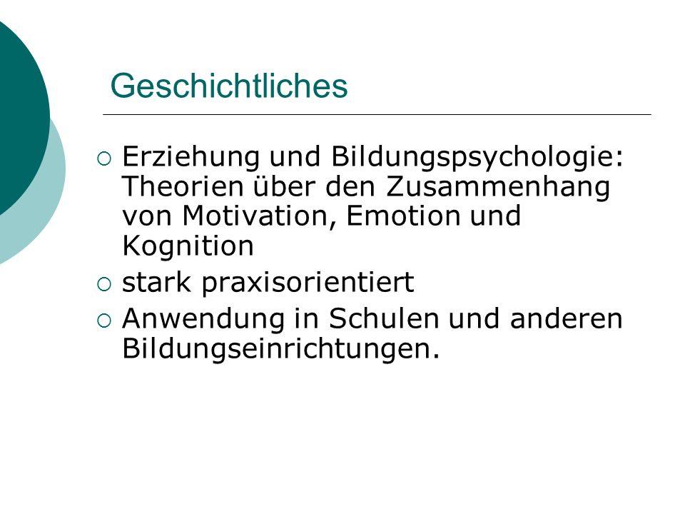 Geschichtliches Erziehung und Bildungspsychologie: Theorien über den Zusammenhang von Motivation, Emotion und Kognition stark praxisorientiert Anwendu
