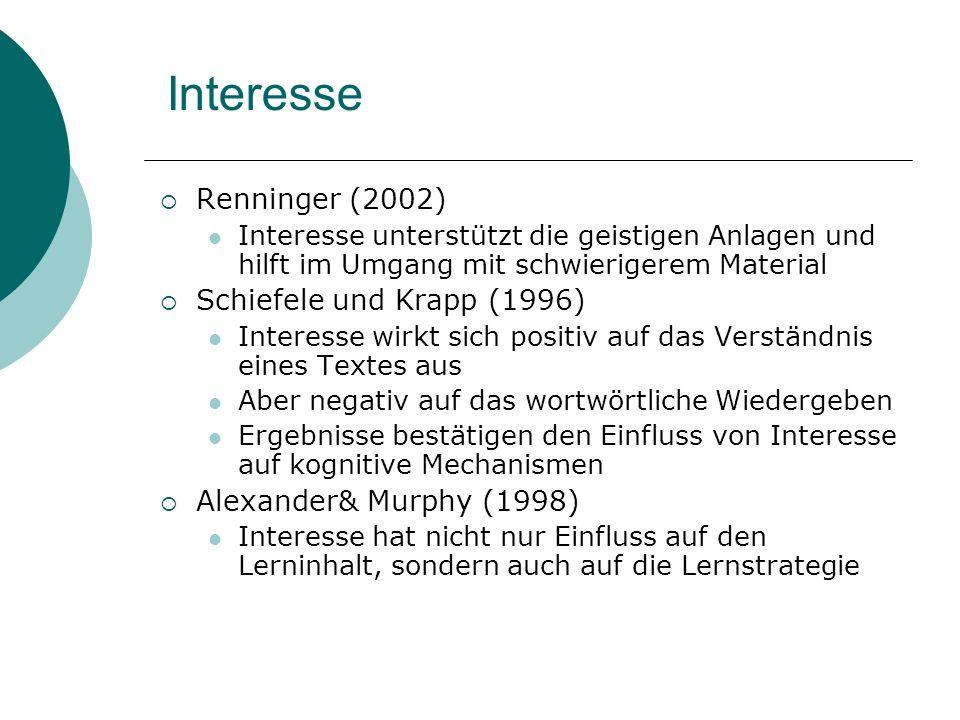 Interesse Renninger (2002) Interesse unterstützt die geistigen Anlagen und hilft im Umgang mit schwierigerem Material Schiefele und Krapp (1996) Inter