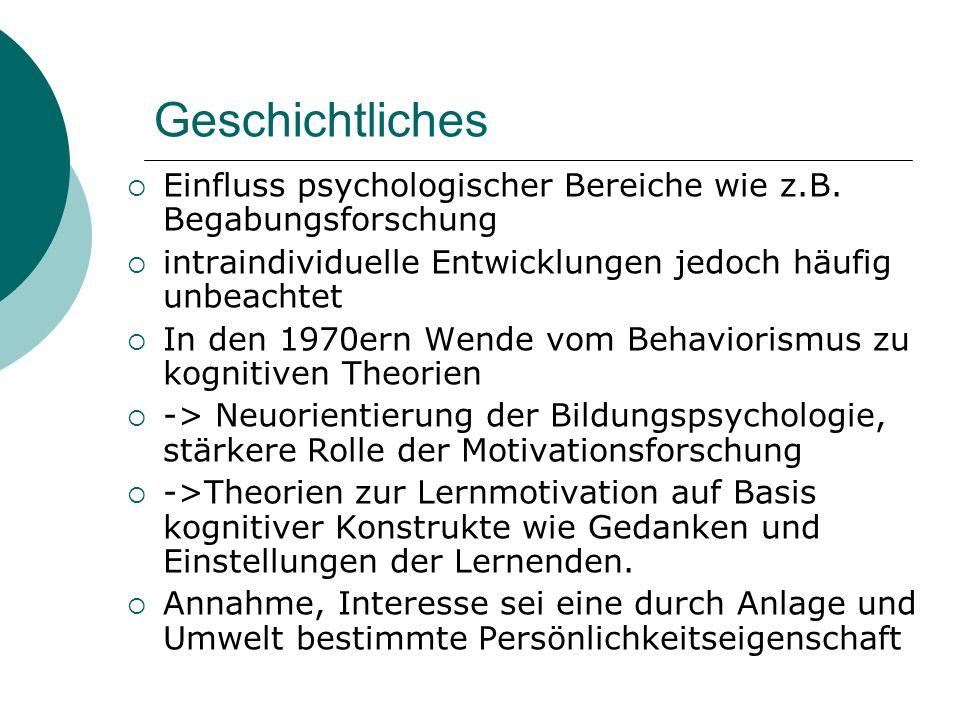 Geschichtliches Einfluss psychologischer Bereiche wie z.B. Begabungsforschung intraindividuelle Entwicklungen jedoch häufig unbeachtet In den 1970ern