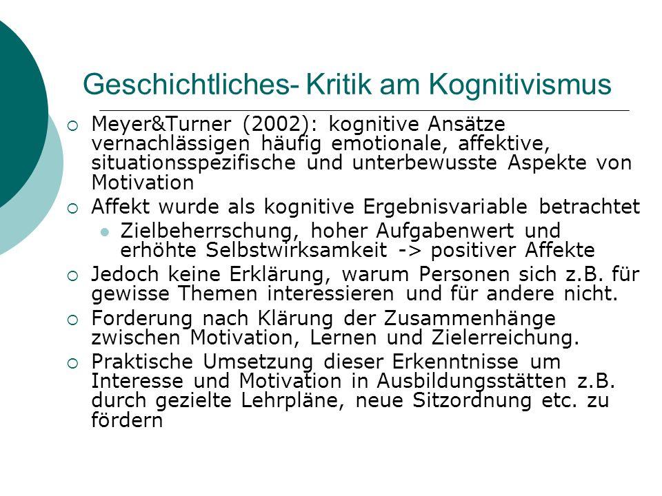 Geschichtliches- Kritik am Kognitivismus Meyer&Turner (2002): kognitive Ansätze vernachlässigen häufig emotionale, affektive, situationsspezifische un