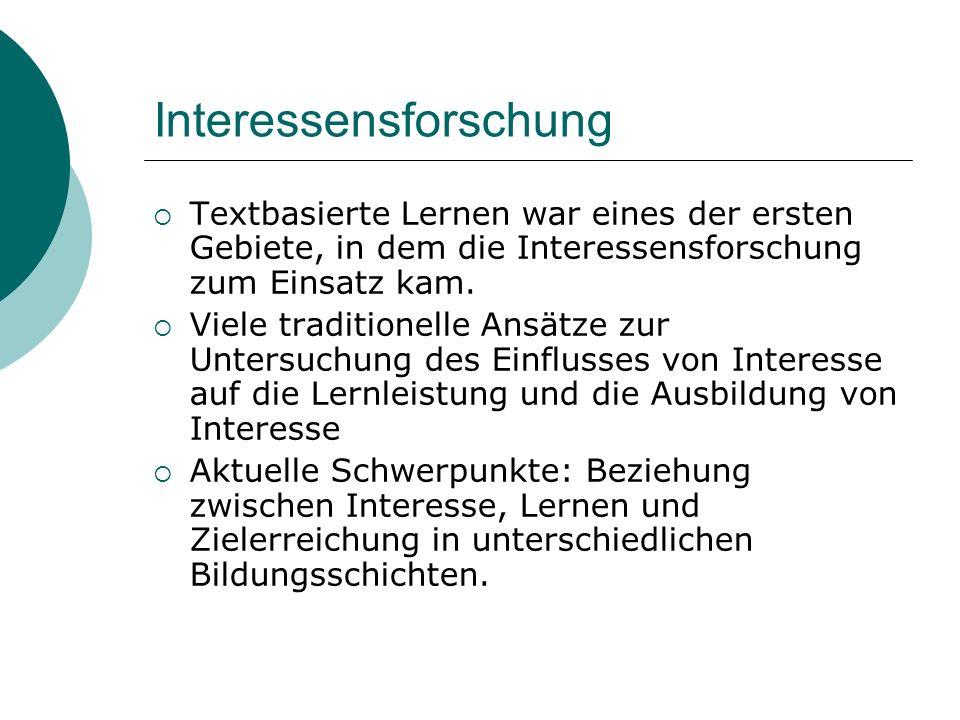 Interessensforschung Textbasierte Lernen war eines der ersten Gebiete, in dem die Interessensforschung zum Einsatz kam. Viele traditionelle Ansätze zu