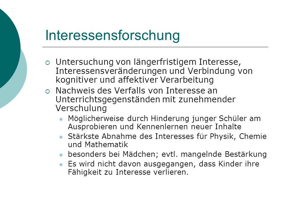 Interessensforschung Untersuchung von längerfristigem Interesse, Interessensveränderungen und Verbindung von kognitiver und affektiver Verarbeitung Na