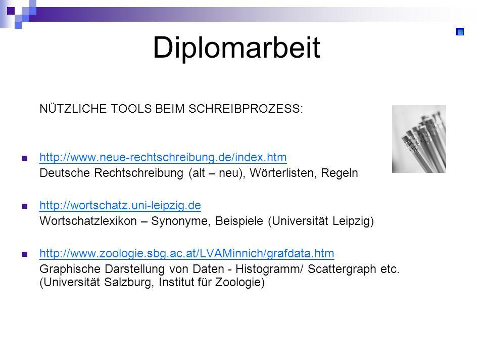 Diplomarbeit NÜTZLICHE TOOLS BEIM SCHREIBPROZESS: http://www.neue-rechtschreibung.de/index.htm Deutsche Rechtschreibung (alt – neu), Wörterlisten, Reg