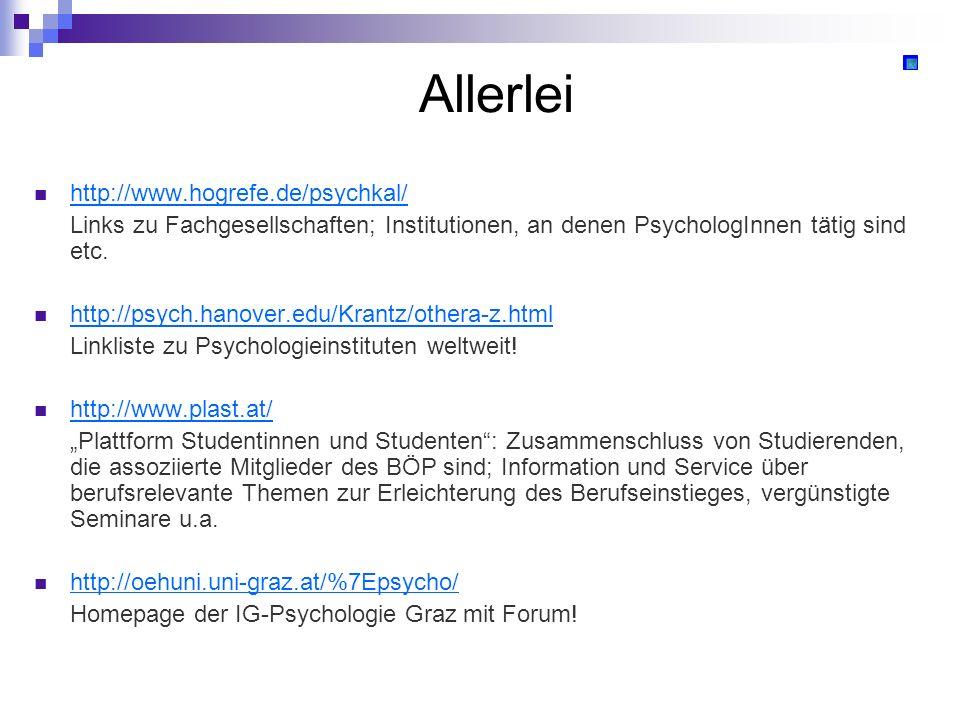 Allerlei http://www.hogrefe.de/psychkal/ Links zu Fachgesellschaften; Institutionen, an denen PsychologInnen tätig sind etc. http://psych.hanover.edu/