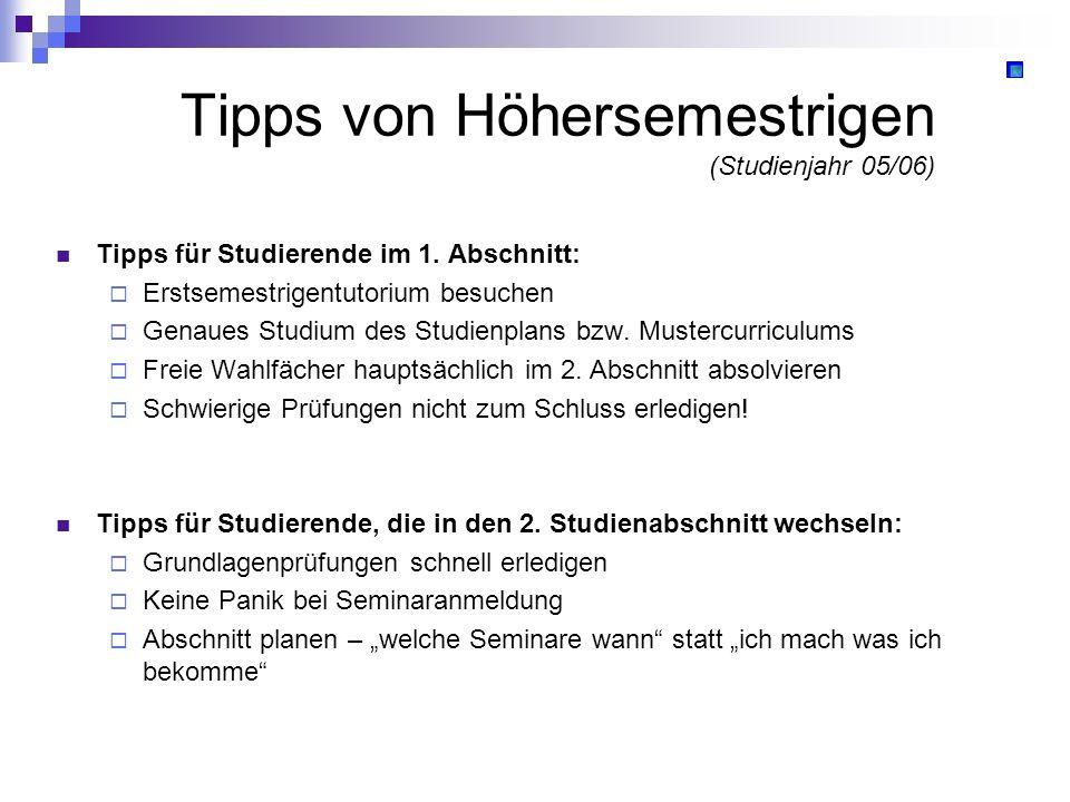 Tipps von Höhersemestrigen (Studienjahr 05/06) Tipps für Studierende im 1. Abschnitt: Erstsemestrigentutorium besuchen Genaues Studium des Studienplan