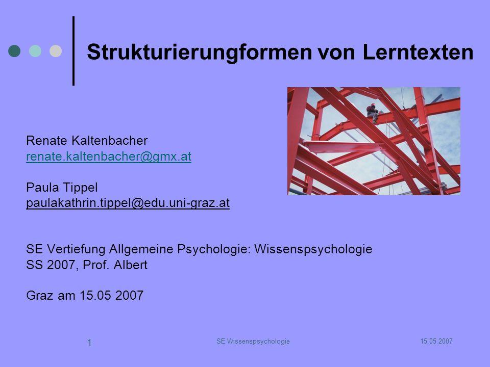 15.05.2007SE Wissenspsychologie 12 Merkmale einer linearen Struktur Beispiel für hierarchische Ordnung sind zusammengefasste Punkte: mehrere Ideen werden unter einem bestimmten Aspekt zusammengefasst als zusammengehörig als unterschiedlich von anderen Aspekten deklariert.