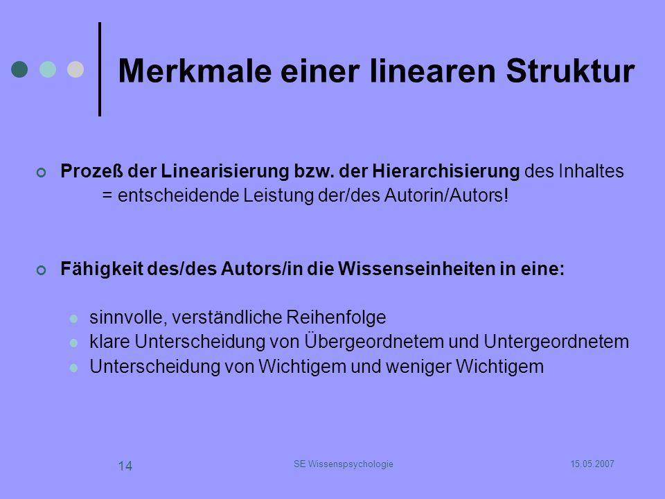 15.05.2007SE Wissenspsychologie 14 Merkmale einer linearen Struktur Prozeß der Linearisierung bzw. der Hierarchisierung des Inhaltes = entscheidende L