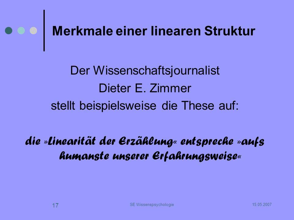 15.05.2007SE Wissenspsychologie 17 Merkmale einer linearen Struktur Der Wissenschaftsjournalist Dieter E. Zimmer stellt beispielsweise die These auf: