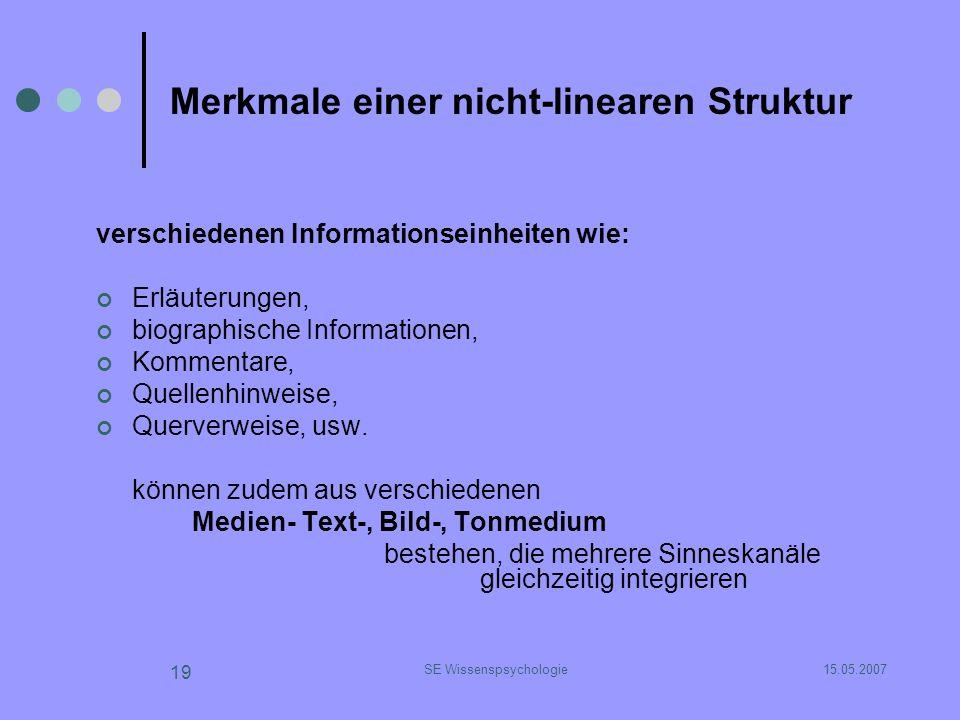 15.05.2007SE Wissenspsychologie 19 Merkmale einer nicht-linearen Struktur verschiedenen Informationseinheiten wie: Erläuterungen, biographische Inform