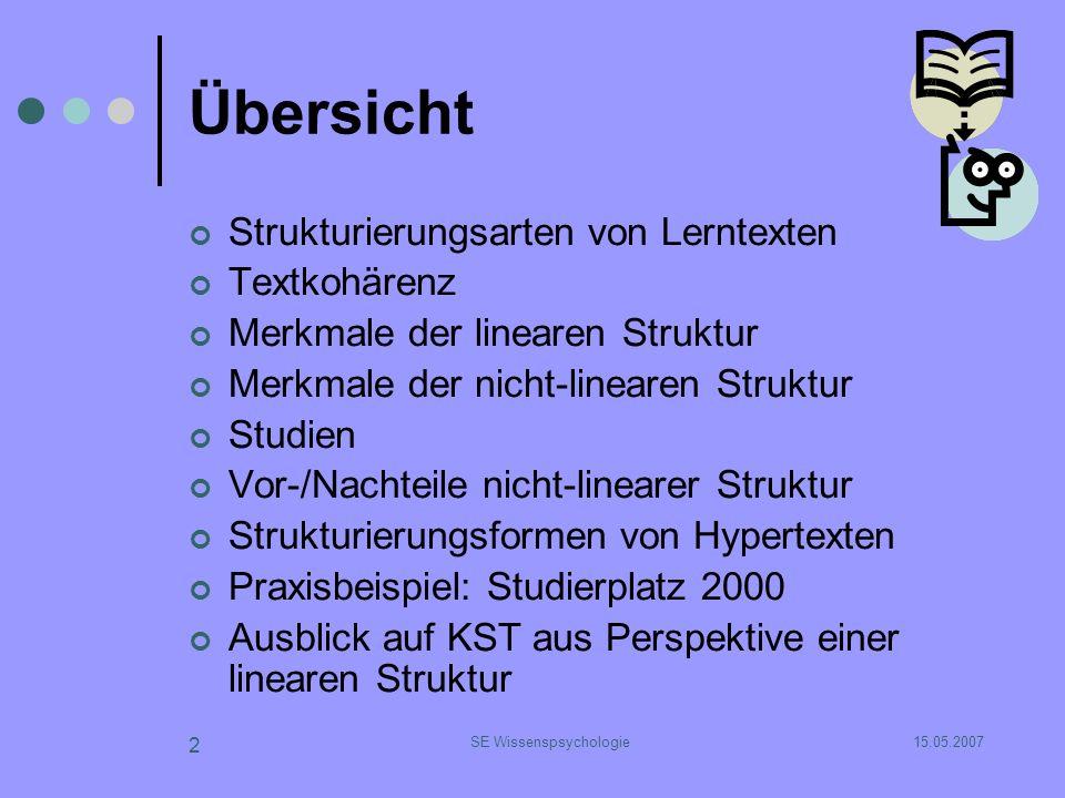 15.05.2007SE Wissenspsychologie 2 Übersicht Strukturierungsarten von Lerntexten Textkohärenz Merkmale der linearen Struktur Merkmale der nicht-lineare