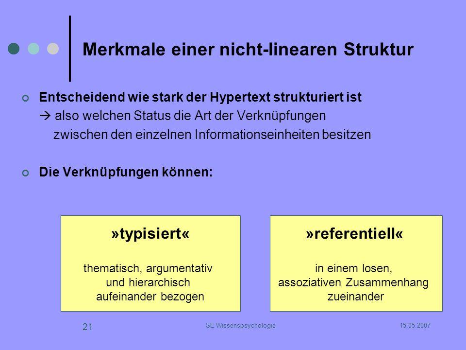 15.05.2007SE Wissenspsychologie 21 Merkmale einer nicht-linearen Struktur Entscheidend wie stark der Hypertext strukturiert ist also welchen Status di