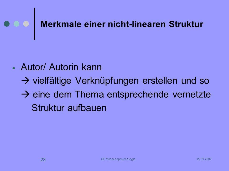 15.05.2007SE Wissenspsychologie 23 Merkmale einer nicht-linearen Struktur Autor/ Autorin kann vielfältige Verknüpfungen erstellen und so eine dem Them