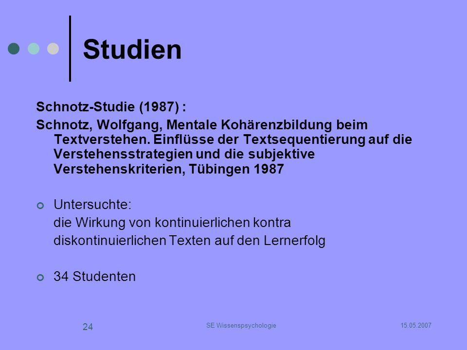 15.05.2007SE Wissenspsychologie 24 Studien Schnotz-Studie (1987) : Schnotz, Wolfgang, Mentale Kohärenzbildung beim Textverstehen. Einflüsse der Textse