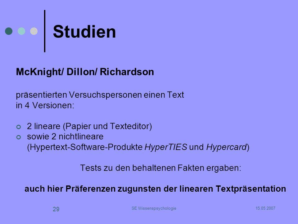 15.05.2007SE Wissenspsychologie 29 Studien McKnight/ Dillon/ Richardson präsentierten Versuchspersonen einen Text in 4 Versionen: 2 lineare (Papier un