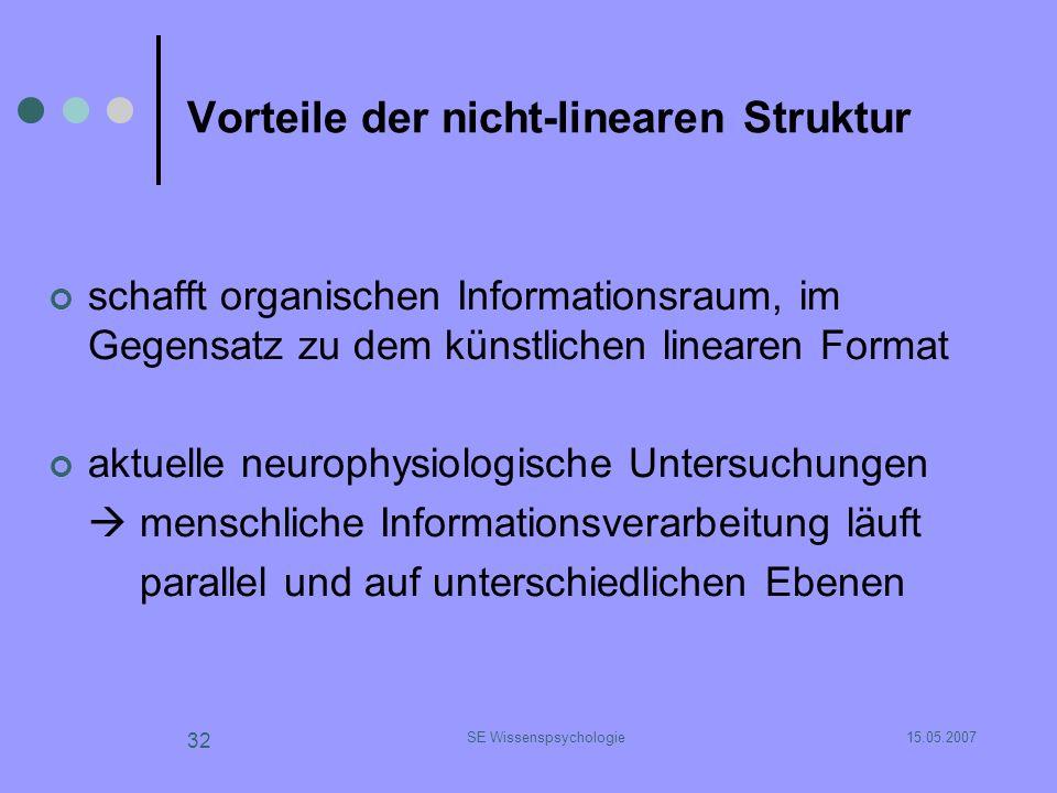 15.05.2007SE Wissenspsychologie 32 Vorteile der nicht-linearen Struktur schafft organischen Informationsraum, im Gegensatz zu dem künstlichen linearen