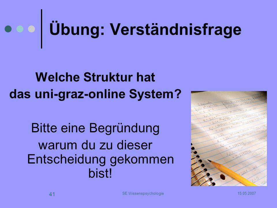15.05.2007SE Wissenspsychologie 41 Übung: Verständnisfrage Welche Struktur hat das uni-graz-online System? Bitte eine Begründung warum du zu dieser En