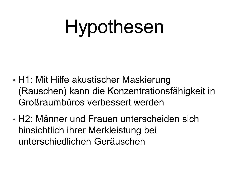 Hypothesen H1: Mit Hilfe akustischer Maskierung (Rauschen) kann die Konzentrationsfähigkeit in Großraumbüros verbessert werden H2: Männer und Frauen u