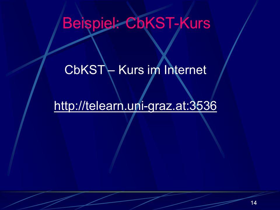 14 CbKST – Kurs im Internet http://telearn.uni-graz.at:3536 Beispiel: CbKST-Kurs