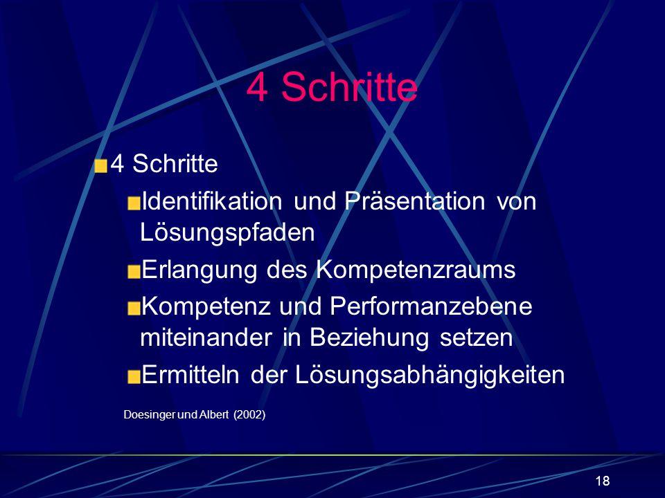 18 4 Schritte Identifikation und Präsentation von Lösungspfaden Erlangung des Kompetenzraums Kompetenz und Performanzebene miteinander in Beziehung se