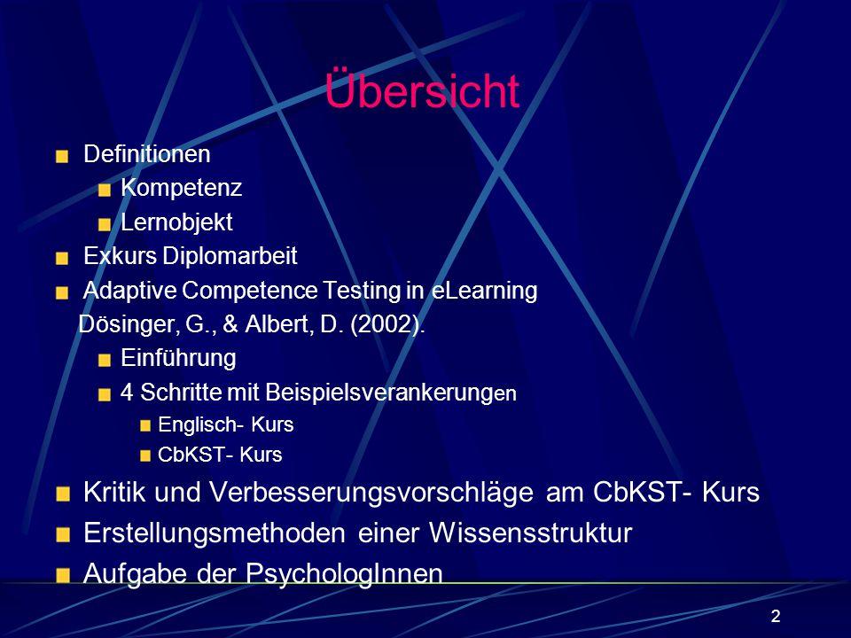 2 Definitionen Kompetenz Lernobjekt Exkurs Diplomarbeit Adaptive Competence Testing in eLearning Dösinger, G., & Albert, D. (2002). Einführung 4 Schri