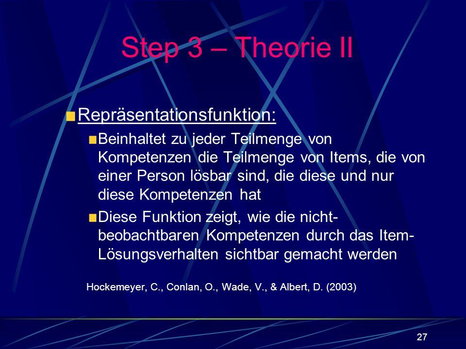 27 Repräsentationsfunktion: Beinhaltet zu jeder Teilmenge von Kompetenzen die Teilmenge von Items, die von einer Person lösbar sind, die diese und nur