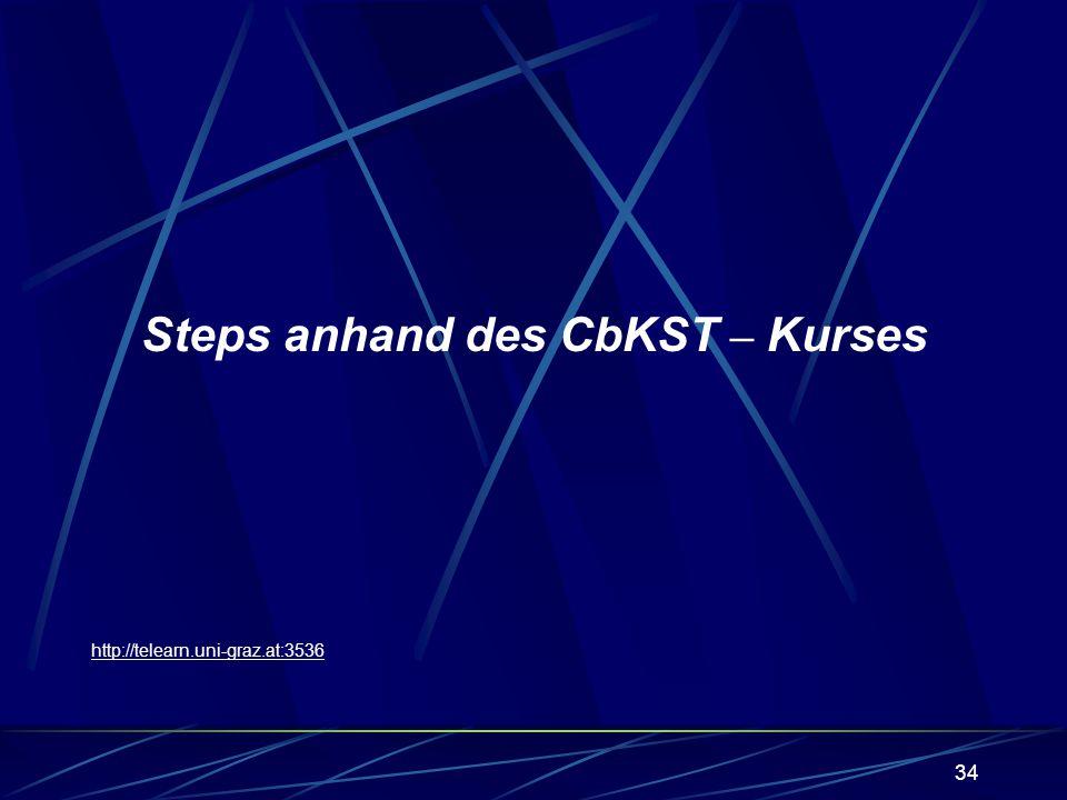 34 Steps anhand des CbKST – Kurses http://telearn.uni-graz.at:3536