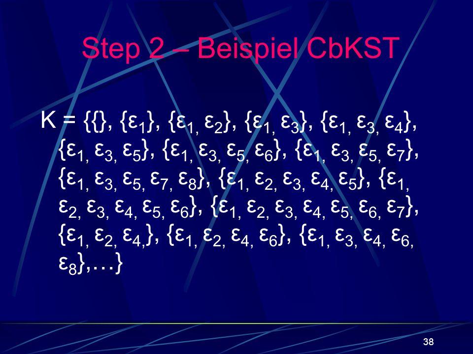 38 K = {{}, {ε 1 }, {ε 1, ε 2 }, {ε 1, ε 3 }, {ε 1, ε 3, ε 4 }, {ε 1, ε 3, ε 5 }, {ε 1, ε 3, ε 5, ε 6 }, {ε 1, ε 3, ε 5, ε 7 }, {ε 1, ε 3, ε 5, ε 7, ε