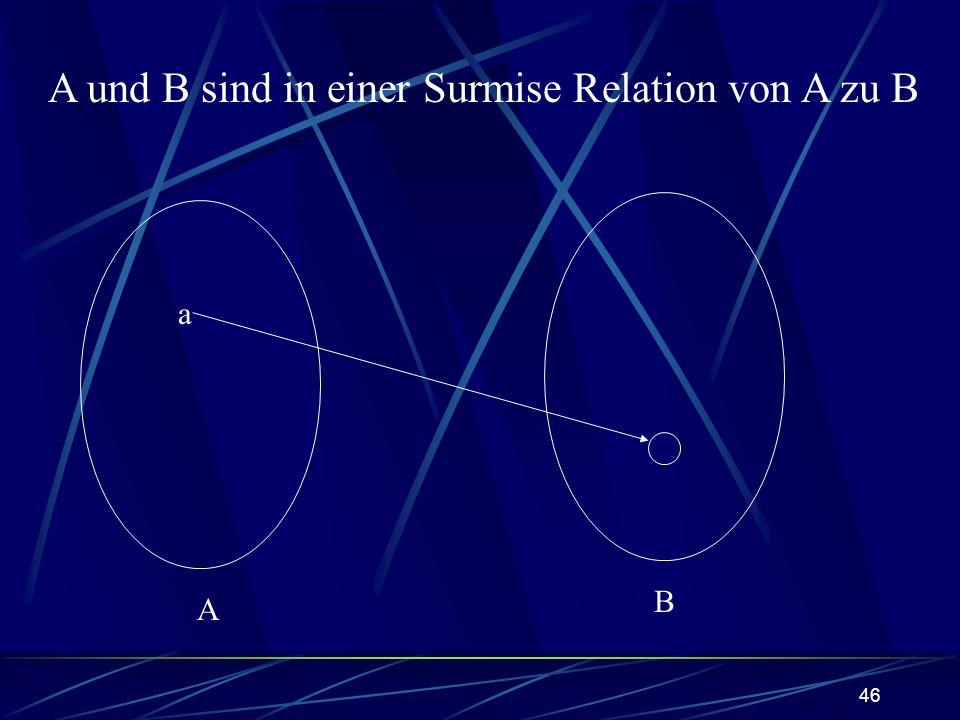 46 A B a A und B sind in einer Surmise Relation von A zu B