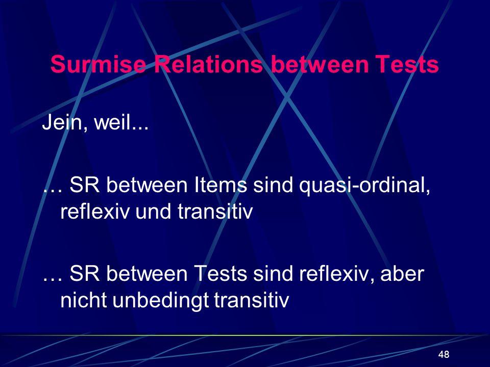 48 Surmise Relations between Tests Jein, weil... … SR between Items sind quasi-ordinal, reflexiv und transitiv … SR between Tests sind reflexiv, aber