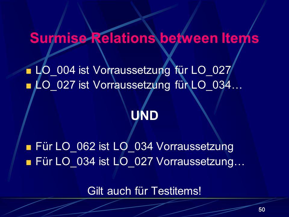50 Surmise Relations between Items LO_004 ist Vorraussetzung für LO_027 LO_027 ist Vorraussetzung für LO_034… UND Für LO_062 ist LO_034 Vorraussetzung