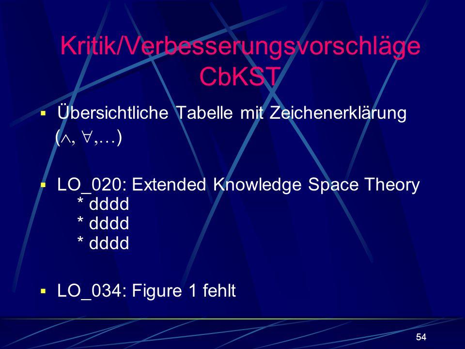 54 Kritik/Verbesserungsvorschläge CbKST Übersichtliche Tabelle mit Zeichenerklärung ( … ) LO_020: Extended Knowledge Space Theory * dddd * dddd * dddd