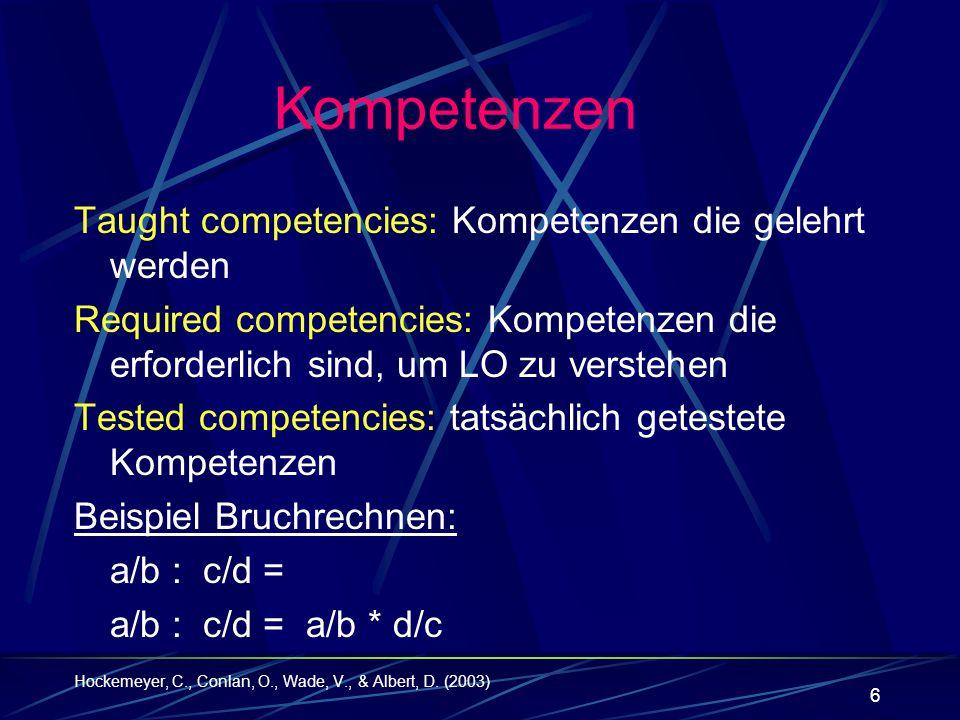 17 Zuordnung Adaptive Competence Testing in eLearning Individualisierung wichtig bei eLearning Adaptives Lernen schwierig im Bezug auf eLearning Flexibles Lernen soll ermöglicht werden Artikel konzentriert sich auf Diagnose von Vorwissen im Bezug auf Kompetenzen die erforderlich sind beim Problemlösen Bezieht sich auf Korossy mit der Kompetenz- Performanz- Theorie Diese erlaubt adaptives und effizientes Testen aber auch Organisation des Lernprozesses Doesinger und Albert (2002)