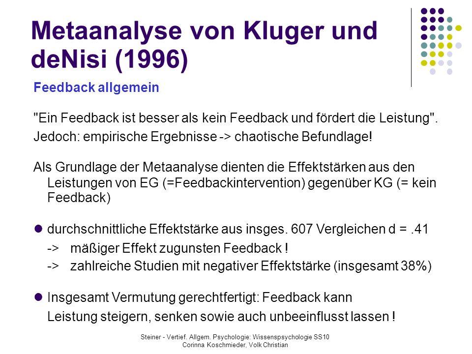 Metaanalyse von Kluger und deNisi (1996) Feedback allgemein