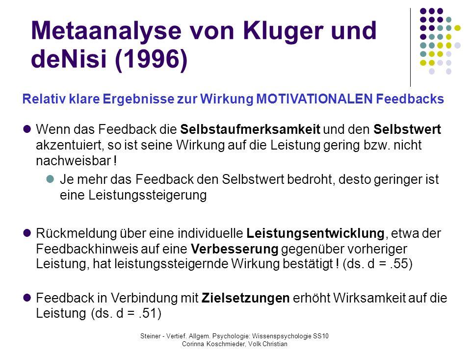 Metaanalyse von Kluger und deNisi (1996) Relativ klare Ergebnisse zur Wirkung MOTIVATIONALEN Feedbacks Wenn das Feedback die Selbstaufmerksamkeit und