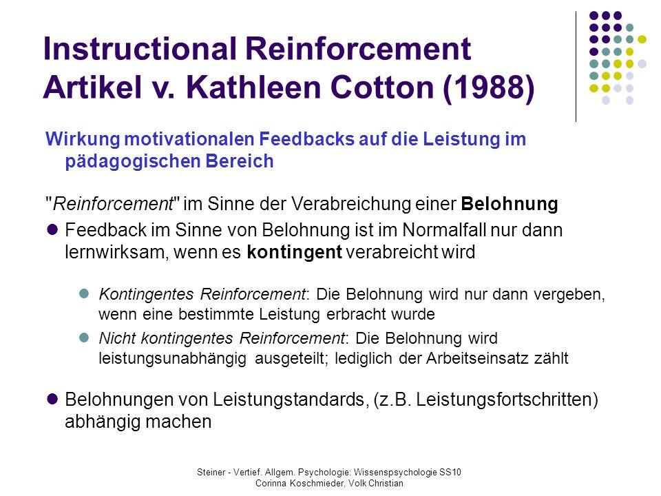 Instructional Reinforcement Artikel v. Kathleen Cotton (1988) Wirkung motivationalen Feedbacks auf die Leistung im pädagogischen Bereich