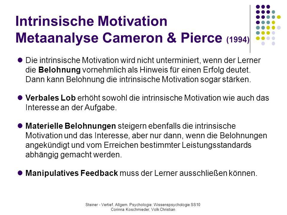 Intrinsische Motivation Metaanalyse Cameron & Pierce (1994) Die intrinsische Motivation wird nicht unterminiert, wenn der Lerner die Belohnung vornehm