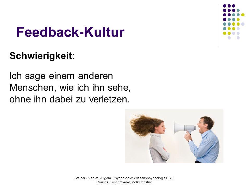 Feedback-Kultur Steiner - Vertief. Allgem. Psychologie: Wissenspsychologie SS10 Corinna Koschmieder, Volk Christian Schwierigkeit: Ich sage einem ande