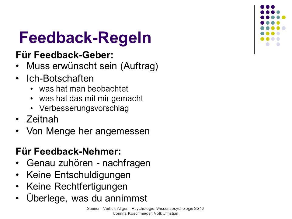 Feedback-Regeln Steiner - Vertief. Allgem. Psychologie: Wissenspsychologie SS10 Corinna Koschmieder, Volk Christian Für Feedback-Geber: Muss erwünscht