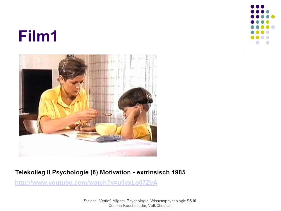 Film1 Telekolleg II Psychologie (6) Motivation - extrinsisch 1985 http://www.youtube.com/watch?v=u0yxLo07ZyA Steiner - Vertief. Allgem. Psychologie: W