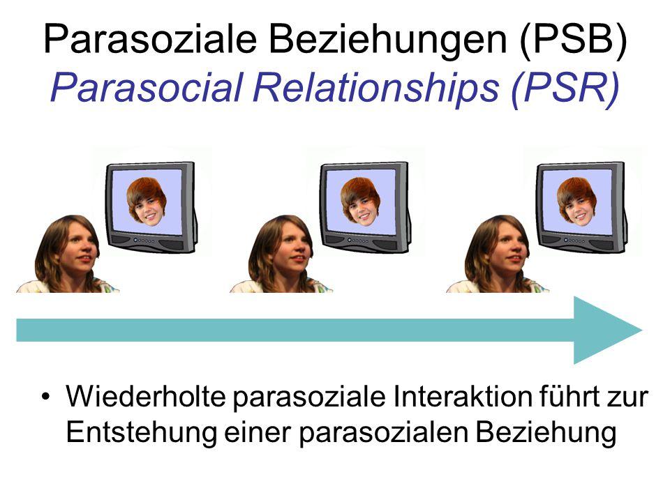 Parasoziale Beziehungen (PSB) Parasocial Relationships (PSR) Wiederholte parasoziale Interaktion führt zur Entstehung einer parasozialen Beziehung