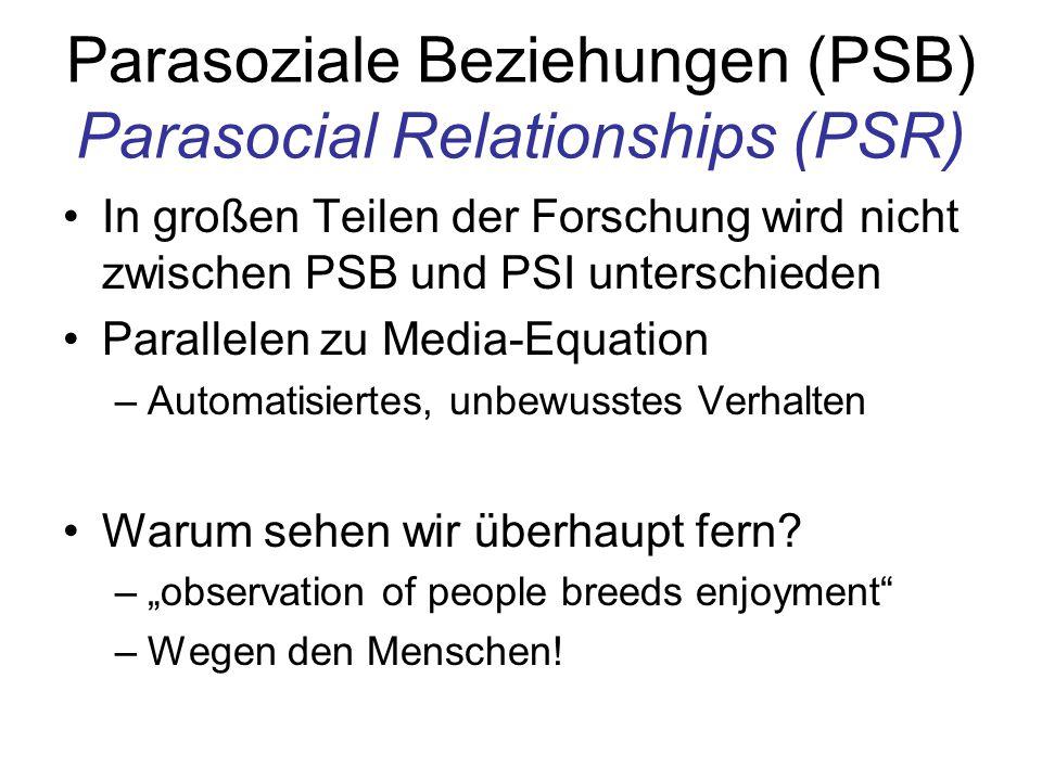 Parasoziale Beziehungen (PSB) Parasocial Relationships (PSR) In großen Teilen der Forschung wird nicht zwischen PSB und PSI unterschieden Parallelen z