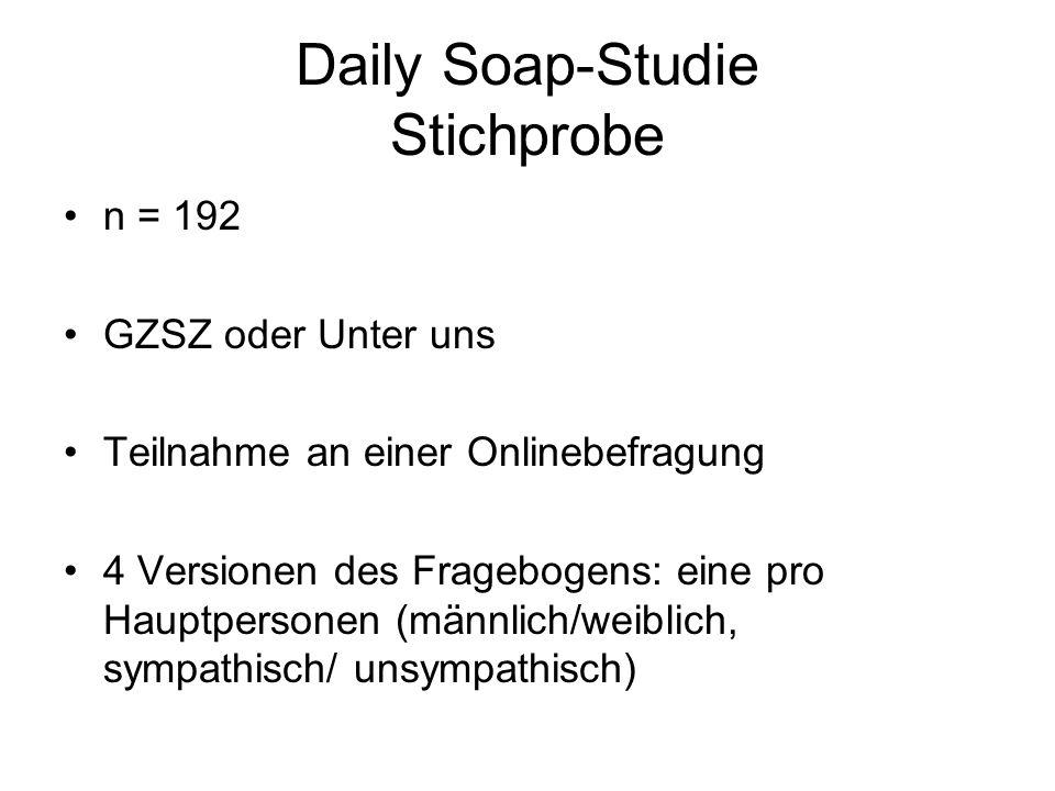 Daily Soap-Studie Stichprobe n = 192 GZSZ oder Unter uns Teilnahme an einer Onlinebefragung 4 Versionen des Fragebogens: eine pro Hauptpersonen (männl