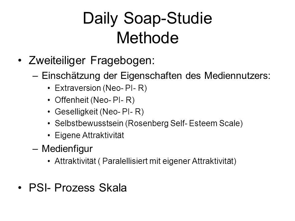Daily Soap-Studie Methode Zweiteiliger Fragebogen: –Einschätzung der Eigenschaften des Mediennutzers: Extraversion (Neo- PI- R) Offenheit (Neo- PI- R)