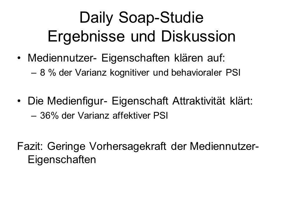Daily Soap-Studie Ergebnisse und Diskussion Mediennutzer- Eigenschaften klären auf: –8 % der Varianz kognitiver und behavioraler PSI Die Medienfigur-
