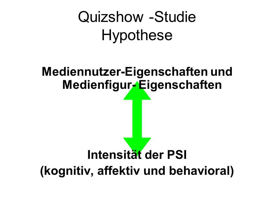 Quizshow -Studie Hypothese Mediennutzer-Eigenschaften und Medienfigur- Eigenschaften Intensität der PSI (kognitiv, affektiv und behavioral)
