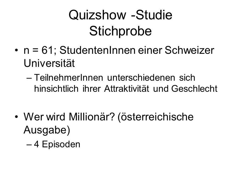 Quizshow -Studie Stichprobe n = 61; StudentenInnen einer Schweizer Universität –TeilnehmerInnen unterschiedenen sich hinsichtlich ihrer Attraktivität