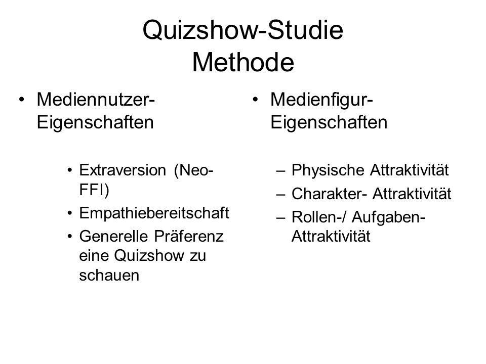 Quizshow-Studie Methode Mediennutzer- Eigenschaften Extraversion (Neo- FFI) Empathiebereitschaft Generelle Präferenz eine Quizshow zu schauen Medienfi