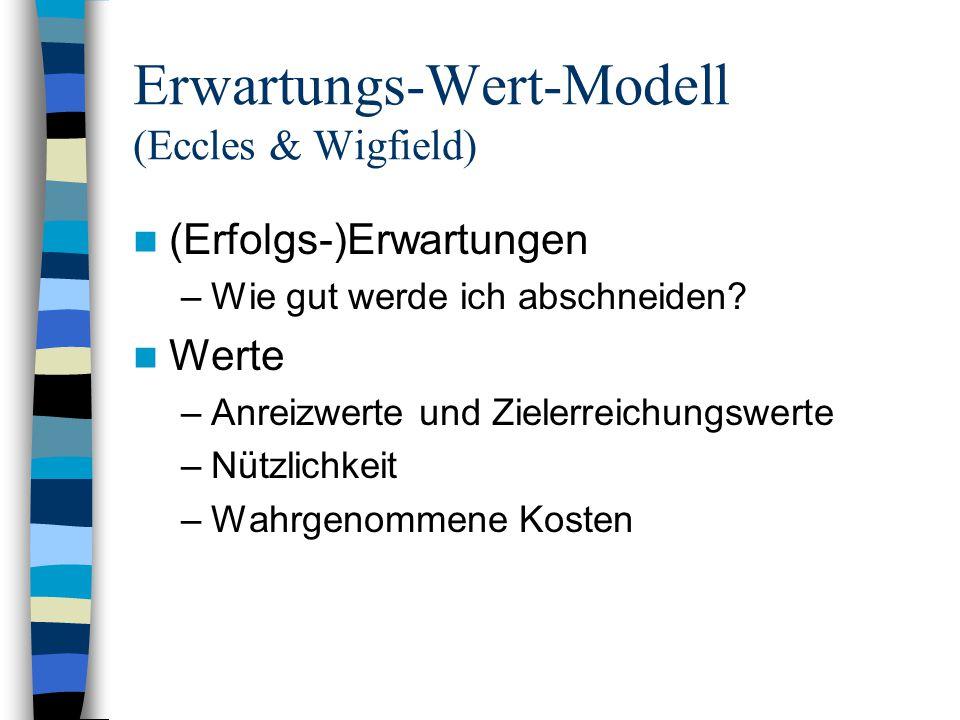 Erwartungs-Wert-Modell (Eccles & Wigfield) (Erfolgs-)Erwartungen –Wie gut werde ich abschneiden? Werte –Anreizwerte und Zielerreichungswerte –Nützlich