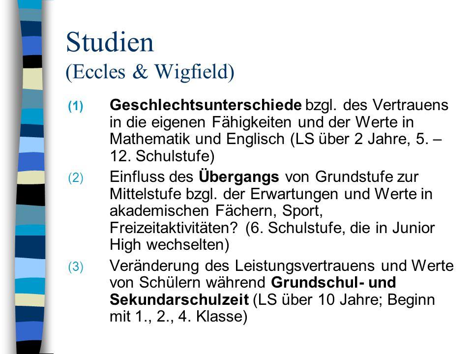 Studien (Eccles & Wigfield) (1) Geschlechtsunterschiede bzgl. des Vertrauens in die eigenen Fähigkeiten und der Werte in Mathematik und Englisch (LS ü