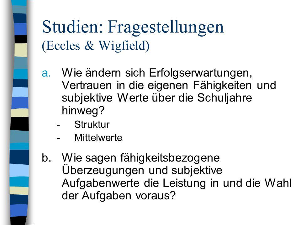 Studien: Fragestellungen (Eccles & Wigfield) a.Wie ändern sich Erfolgserwartungen, Vertrauen in die eigenen Fähigkeiten und subjektive Werte über die Schuljahre hinweg.
